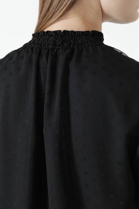 オパールドットシャーリングネックブラウス