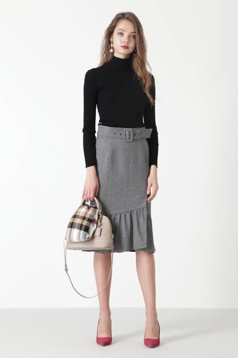 ハウンドトゥースマーメイドラップスカート