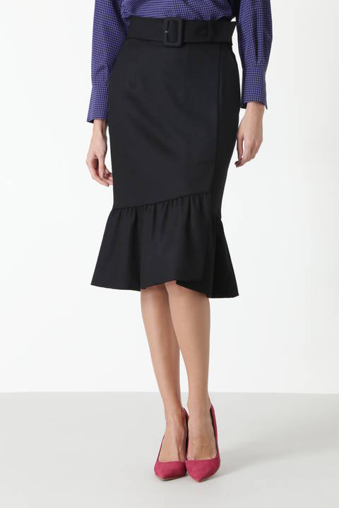 カラーフラノマーメイドラップスカート