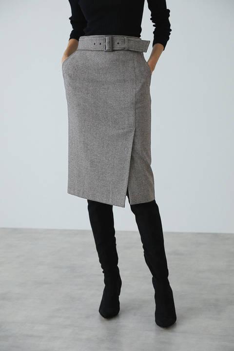 ウールチドリサイドベンツスカート
