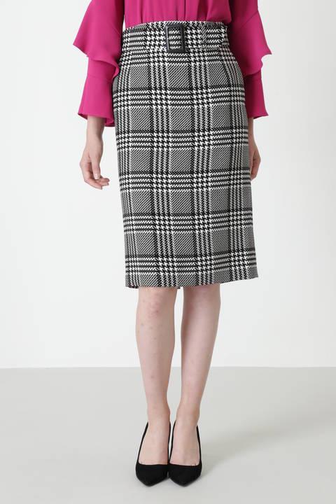 グレンチェックベルト付きタイトスカート