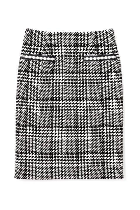 グレンチェックパール付きミニスカート