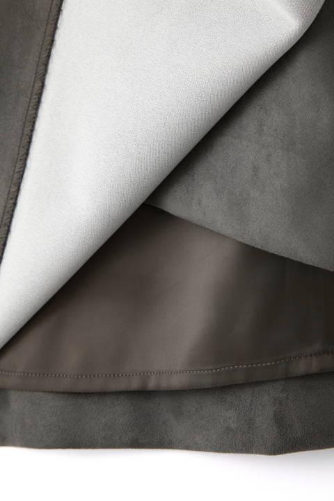 カラーフェイクスエードベルト付きラップスカート
