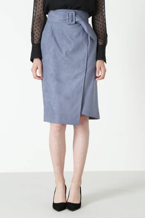 【先行予約 8月下旬 入荷予定】カラーフェイクスエードベルト付きラップスカート