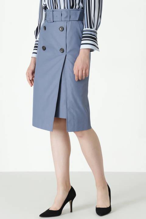 【先行予約 8月下旬 入荷予定】ダブルボタントレンチスカート