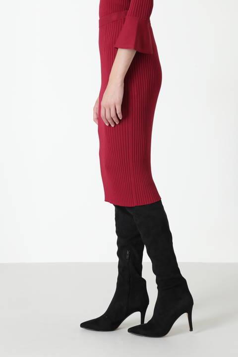 ラッフルスリーブニットアップスカート