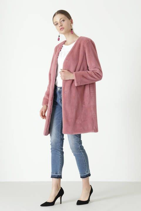 【CLASSY 11月号掲載商品】フェイクファーノーカラーコート