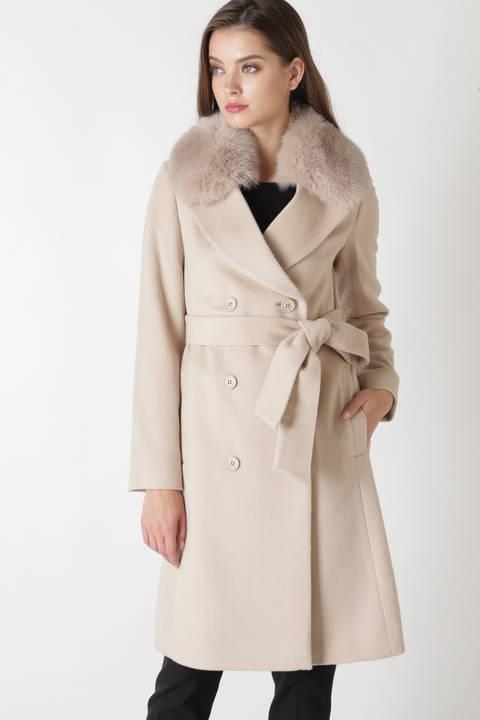 FOXファーステンカラーカシミヤ混コート
