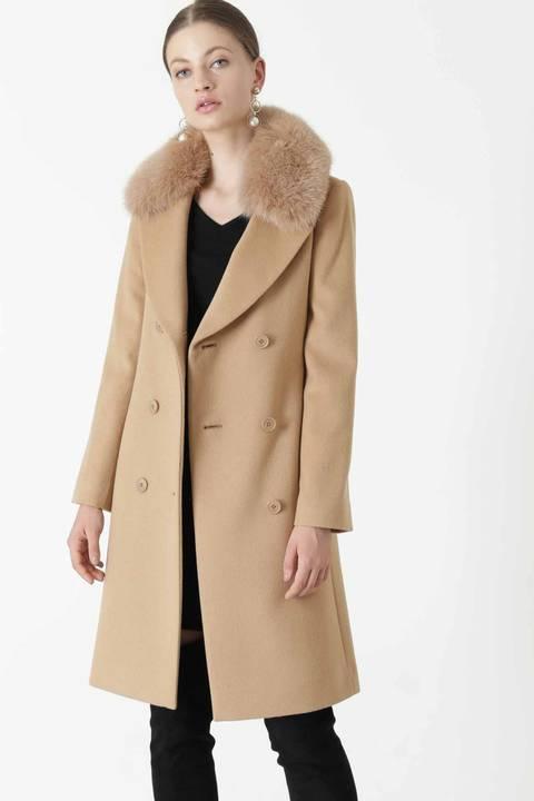 【先行予約 10月中旬-10月下旬入荷予定】FOXファーステンカラーカシミヤ混コート
