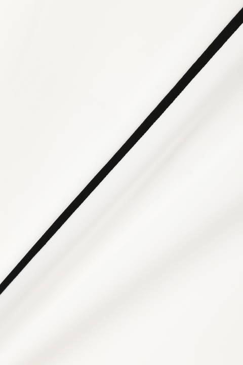 [ウォッシャブル]バイカラートリミングVネックブラウス