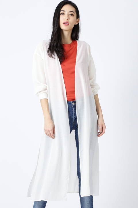[ウォッシャブル]シアーボイルノーカラーシャツ