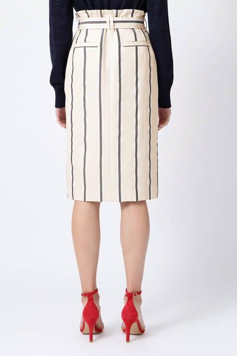 【ドラマ 相武紗季さん着用】麻調ストライプペンシルスカート
