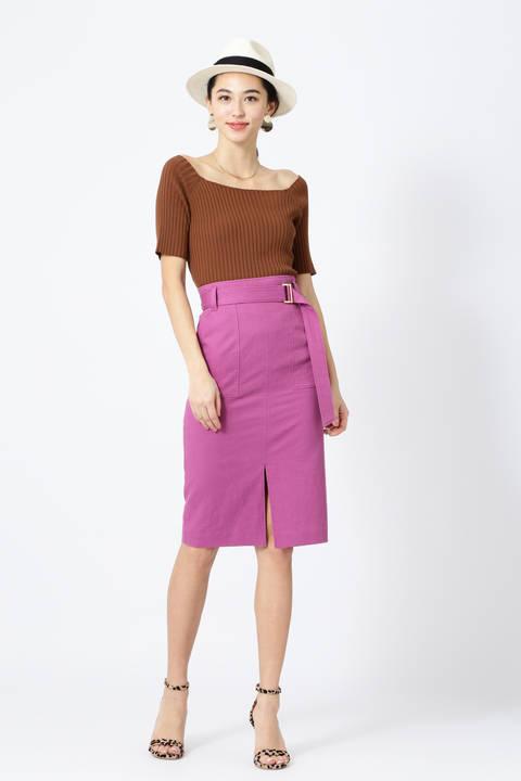 【先行予約 3月下旬-4月上旬 入荷予定】綿麻スラブアウトポケットスカート