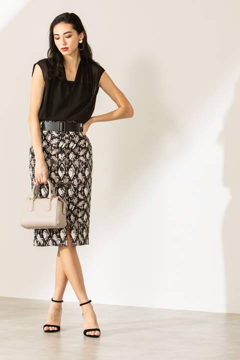 【ドラマ 菜々緒さん着用】[ウォッシャブル]パイソンプリントフロントボタンスカート