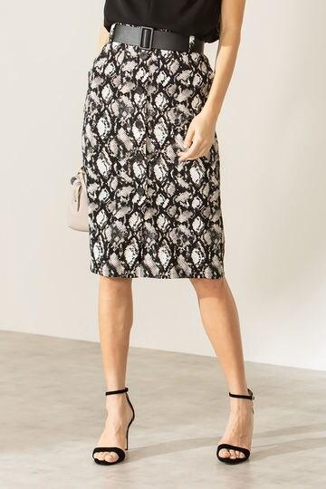 [ウォッシャブル]パイソンプリントフロントボタンスカート