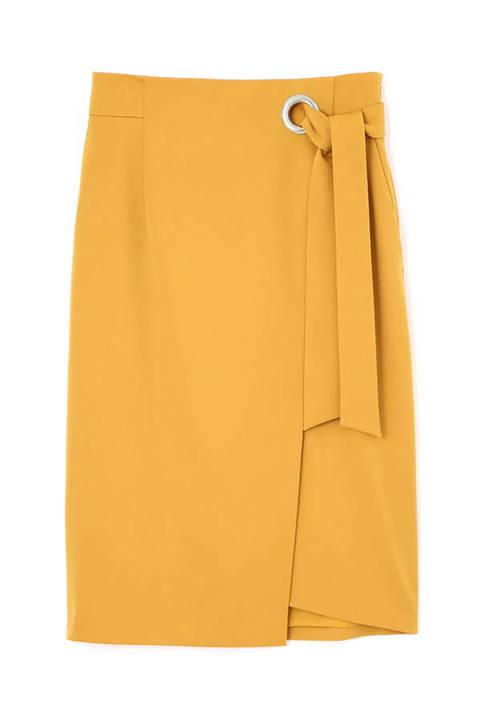 [ウォッシャブル]ワイドハトメラップリボンスカート