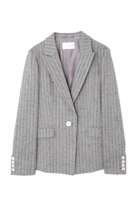綿麻ストライプテーラードジャケット