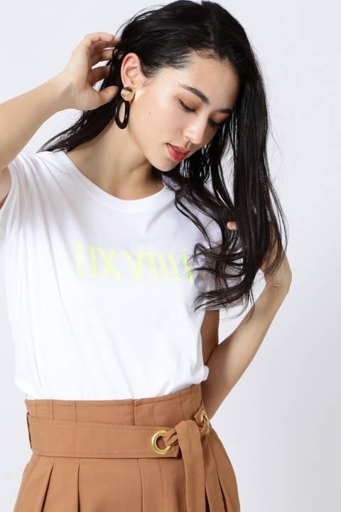 [ウォッシャブル]クリアーコットンネオンロゴTシャツ