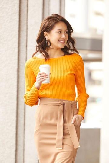 [WEB限定カラー・オレンジ]ワイドリブカラートップ