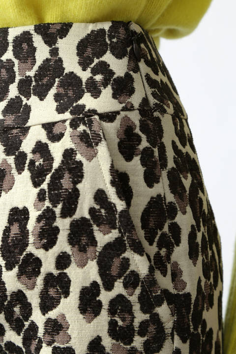 レオパードジャガードミニスカート
