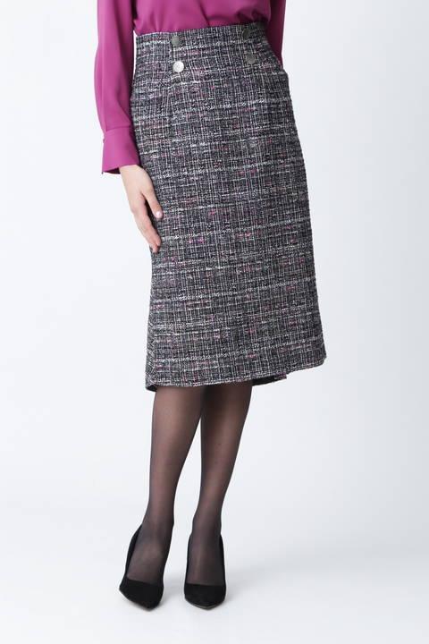 【先行予約 10月中旬-下旬入荷予定】カスリツイードバックマーメイドスカート