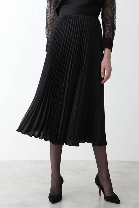 【先行予約 11月中旬-下旬入荷予定】サテンプリーツミディスカート