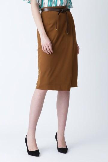 [ウォッシャブル]レザーベルト付きセットアップスカート
