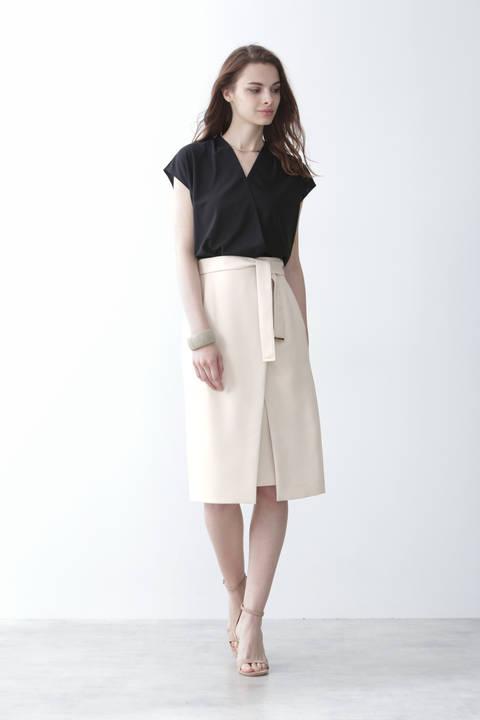 [ウォッシャブル]メタルプレートベルト付ラップスカート