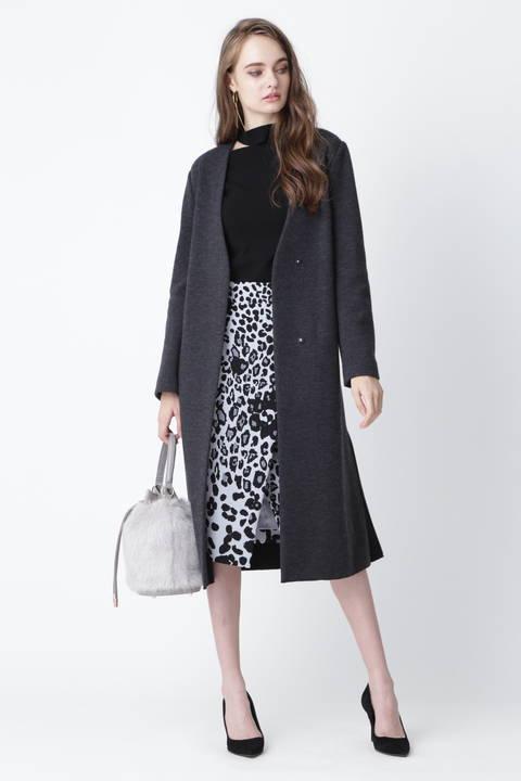 [ウォッシャブル]レオパードプリントラップ風スカート