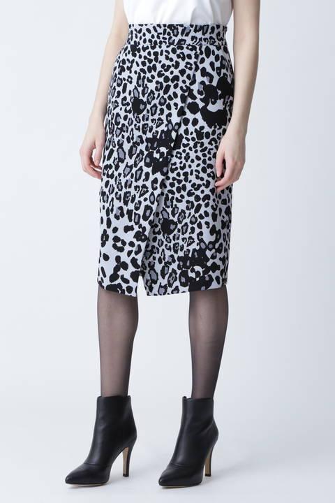 【先行予約 8月下旬-9月上旬入荷予定】レオパードプリントラップ風スカート