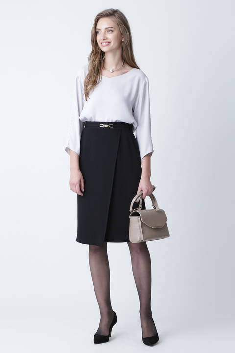 [ウォッシャブル]ビットベルト付ラップスカート