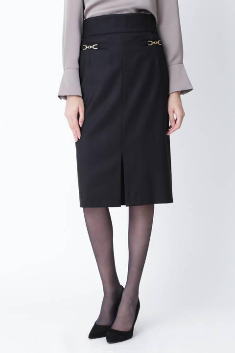 【先行予約 9月上旬-中旬入荷予定】ウールヘリンボーンビットアクセントスカート