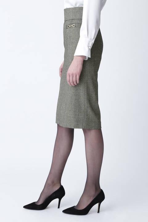 ウールヘリンボーンビットアクセントスカート
