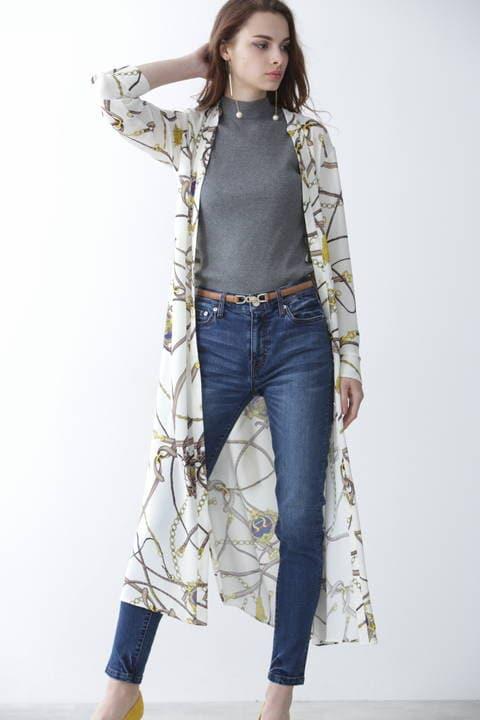 スカーフプリントロングシャツワンピース