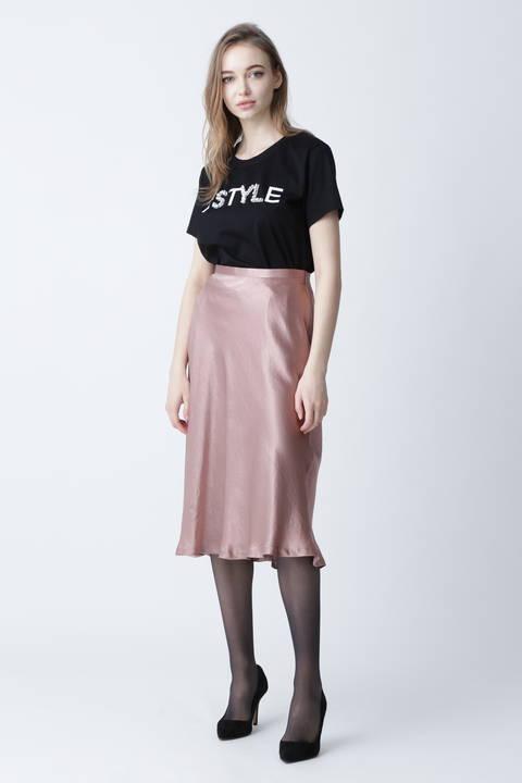 [ウォッシャブル]ビジューMIXロゴTシャツ