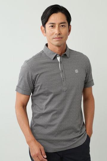 T/C織柄ジャガード半袖シャツ (MENS)