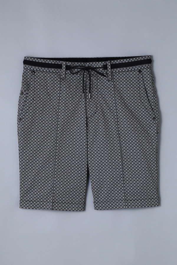 BK/サテンストレッチ変形ダイヤ柄ショートパンツ