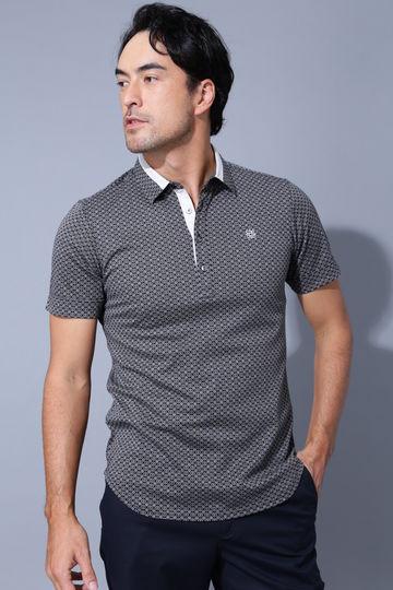 BK/変形ダイヤ柄ポロシャツ