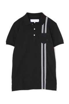 WH/UVカット半回縞ベア天半袖ポロシャツ