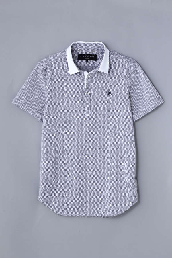 BK/小紋柄ジャガードポロシャツ