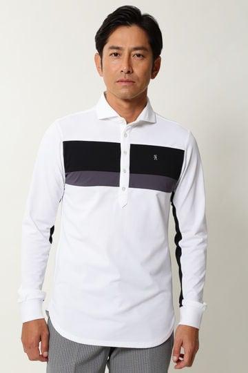 WH/鹿の子長袖ポロシャツ