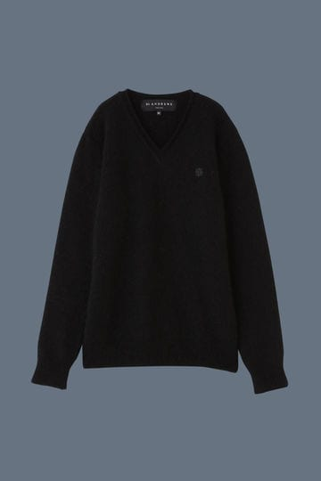【Outlet】BK/モヘヤVネックニット