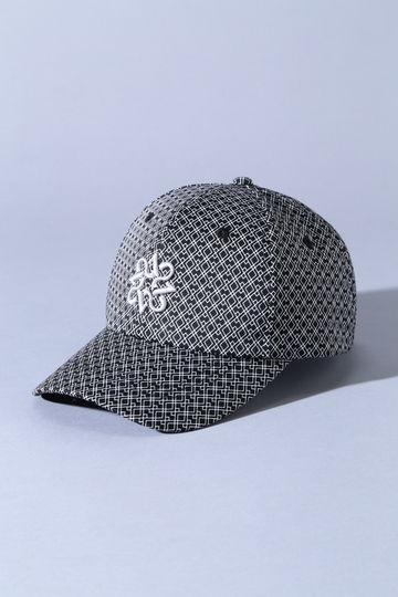 BK/サテンストレッチ変形ダイヤ柄キャップ