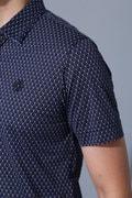 BK/半回縞幾何ダイヤ柄シャツ