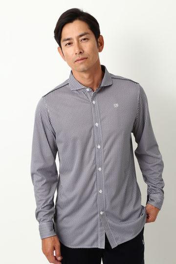 WH/ハイゲージスムース ヘリンボンプリントシャツ (MENS)