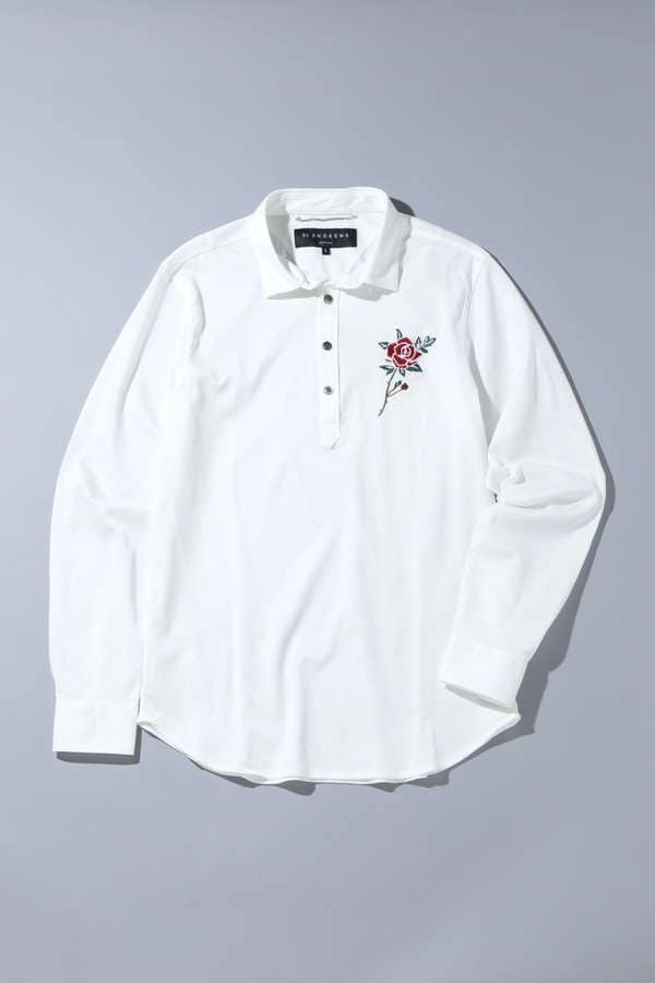 【BSオープン着用】BK/レンシル鹿の子シャツローズ刺繍