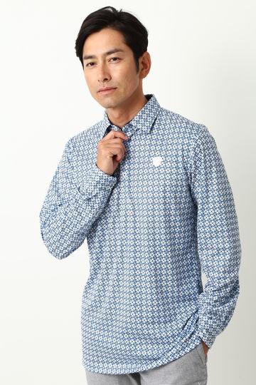 WH/ハイゲージスムース ケルトプリントポロシャツ (MENS)
