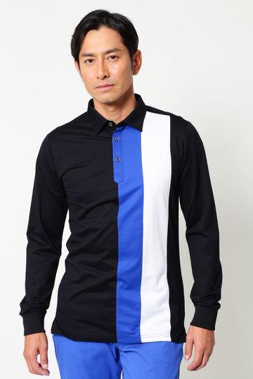 WH/COOLMAXハイゲージハニカム配色長袖シャツ (MENS)