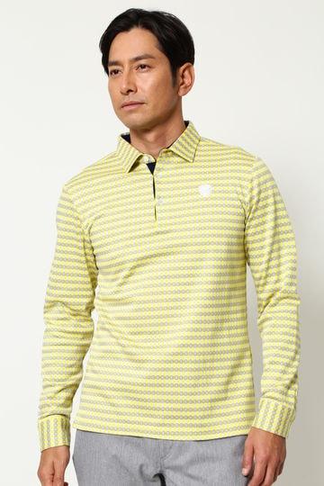 WH/3色チェックダブルジャガード長袖シャツ (MENS)