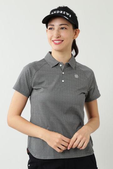 T/C織柄ジャガード半袖シャツ (WOMENS)
